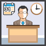 Help desk Man Calendar and Clock Vector Icon Royalty Free Stock Photo
