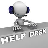 Help desk. Managed by a little white man with headset, white background, concept of help support and customer care Royalty Free Stock Photos