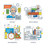 Help desk, mobile learning, time management, timetable of classes. Royalty Free Stock Photography