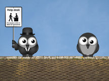 Help Desk Sign. Comical Help Desk sign with birds perched on a rooftop against a clear blue sky Stock Images