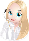 Help-desk. Technical support specialist of users stock illustration
