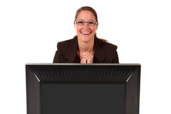 Help desk woman computer Royalty Free Stock Photography