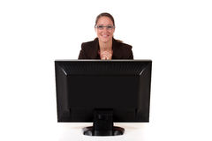 Help desk woman computer Stock Photo