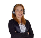 Help desk woman with headset Royalty Free Stock Images