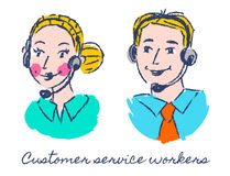 Help desk workers. Customer service workers sketch drawing Royalty Free Stock Photo