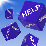 Help Dice Flying Shows Assistance And Advice. Help Dice Flying Shows Assistance, Support And Advice Royalty Free Stock Photos