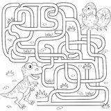 Help dinosaur find path to nest. Labyrinth. Maze game for kids. Black and white vector illustration for coloring book Royalty Free Stock Photography