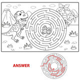Help dinosaur find path to nest. Labyrinth. Maze game for kids. Coloring page stock illustration