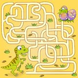 Help dinosaur find path to nest. Labyrinth. Maze game for kids. Vector illustration vector illustration