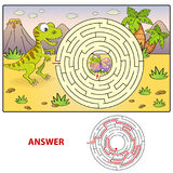 Help dinosaur find path to nest. Labyrinth. Maze game for kids. Vector illustration Stock Photography