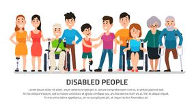 Help disabled person. Happy disability people, young student in wheelchair, handicapped boy with group of friends vector. Help disabled person. Happy disability vector illustration