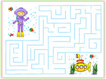 Help the diver go through a maze and find yellow submarine in th. E ocean. Educational game for children. Vector illustration Royalty Free Stock Photography