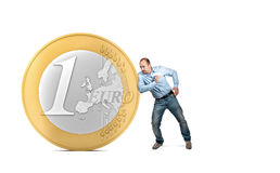 Help euro. 3d euro coin and man in push position Stock Images