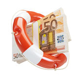 Help euro financial crisis. On a white background Royalty Free Stock Photo