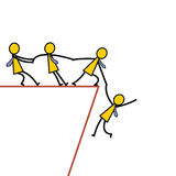 Help from falling. Businessman teamwork holding hands trying to pull up another friend who falling from abyss. Business concept in helping and supportive team vector illustration