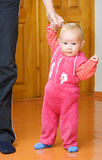 Help of the father. Baby learning to walk with the help of the father Royalty Free Stock Images