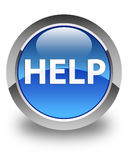 Help glossy blue round button Stock Images