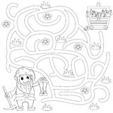 Help gnome find path to treasure chest . Labyrinth. Maze game for kids. Black and white vector illustration for coloring book stock photos