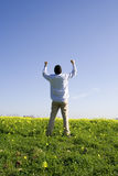 Help of God. Man outstretched asking for the help of God (with copyspace Stock Photo