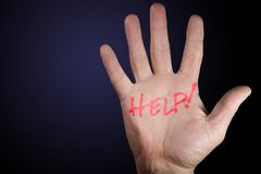 Help on hand. Hand with help royalty free stock photography