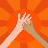 Help hand charity or hi five on the sun. Stock Photography