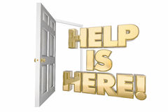 Help is Here Assistance Open Door Words. 3d Illustration Royalty Free Stock Photography