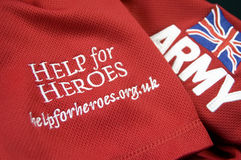 Help For Heroes. British Army team rugby shirt supporting the Help For Heroes campaign to raise money for wounded service men and women in current world Stock Photography