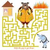 Help het varken om huis en uit het labyrint te krijgen Vectorrebus Stock Foto's