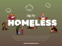 Help for homeless banner with hungry beggar. Holding message banner and begs for money vector illustration. Homeless skinny saggy man in dirty old clothes Stock Photo
