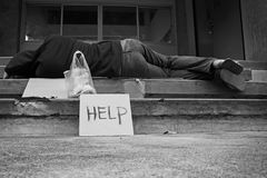 Help. Homeless person with help sign,Poverty issue Stock Photos