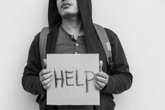 Help. Homeless person with help sign,Poverty issue Royalty Free Stock Photography