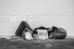 Help. Homeless person with help sign,Poverty issue stock photo