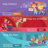 Help for homeless and poor people vector illustration web banners for social charity project or organization. Help to homeless people vector illustration for Stock Images