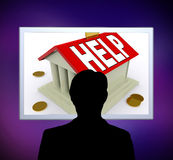 Help on House Or Money Box Man Means Loan Assistance. Help on House Or Money Box Man Meaning Loan Assistance Stock Photos