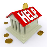 Help on House Or Money Box Means Loan Assistance. Help on House Or Money Box Meaning Loan Assistance Stock Photo