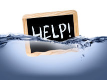 Help! i am drowning. Need a help in risk Stock Photo