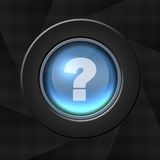 Help icon. Blue icon with white question mark on aperture style background stock illustration