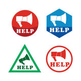 Help icon set with Megaphone. Royalty Free Stock Photo
