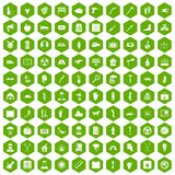 100 help icons hexagon green. 100 help icons set in green hexagon isolated vector illustration Stock Image
