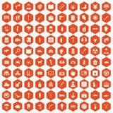 100 help icons hexagon orange. 100 help icons set in orange hexagon isolated vector illustration stock illustration