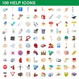 100 help icons set, cartoon style. 100 help icons set in cartoon style for any design illustration stock illustration