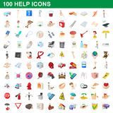 100 help icons set, cartoon style Royalty Free Stock Photos