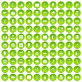 100 help icons set green circle Stock Photography