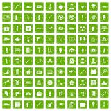 100 help icons set grunge green. 100 help icons set in grunge style green color isolated on white background vector illustration Royalty Free Stock Images
