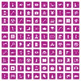 100 help icons set grunge pink. 100 help icons set in grunge style pink color isolated on white background vector illustration Royalty Free Stock Image