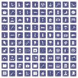100 help icons set grunge sapphire. 100 help icons set in grunge style sapphire color isolated on white background vector illustration Royalty Free Stock Images