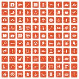 100 help icons set grunge orange. 100 help icons set in grunge style orange color isolated on white background vector illustration Stock Images