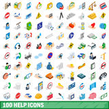 100 help icons set, isometric 3d style. 100 help icons set in isometric 3d style for any design vector illustration Stock Image