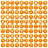 100 help icons set orange. 100 help icons set in orange circle isolated on white vector illustration royalty free illustration