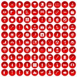 100 help icons set red. 100 help icons set in red circle isolated on white vector illustration Royalty Free Illustration